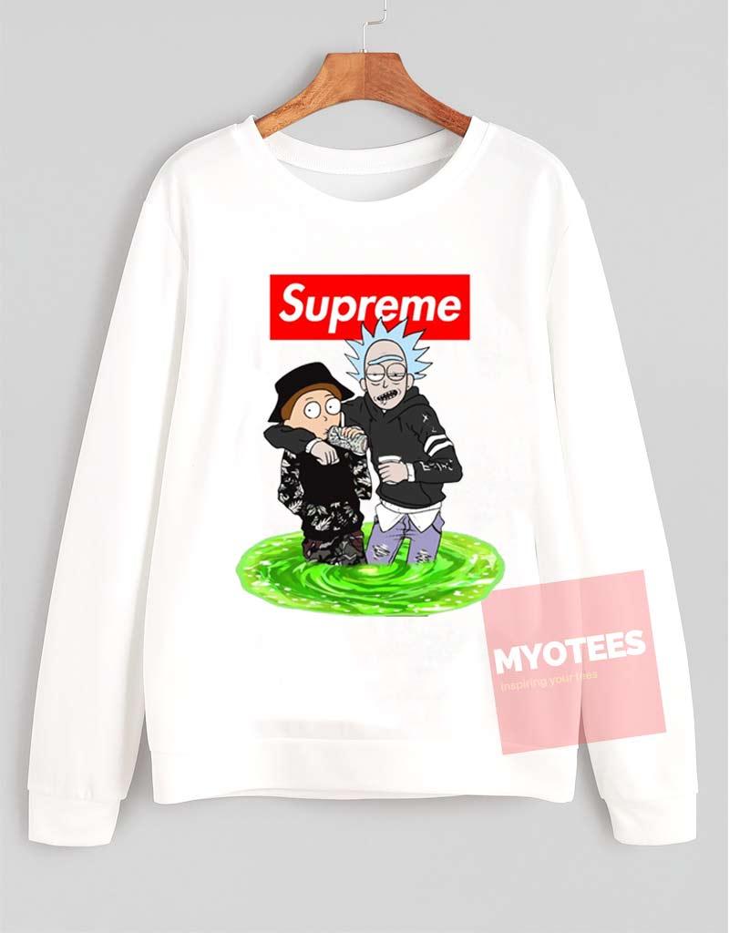 ee213e7c1df7 Cheap Custom Supreme Style Rick And Morty Unisex Sweatshirt