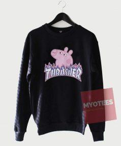Peppa Pig X Thrasher Flame Parody Sweatshirt