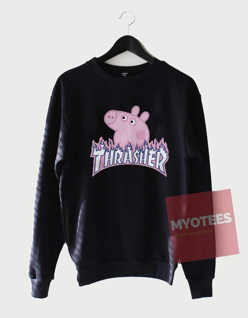 73a0a2d25868 Peppa Pig X Thrasher Flame Parody Sweatshirt | MYOTEES