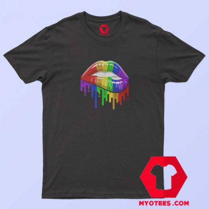 Lips in Rainbow Flag T-Shirt For Sale