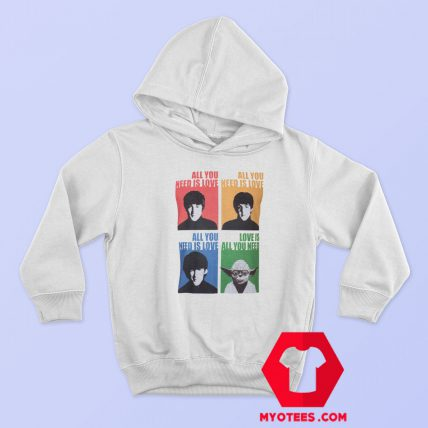 Beatles Yoda Starwars Parody Graphic Hoodie