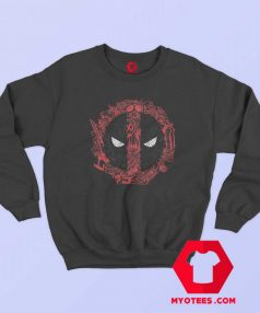 Funny Marvel Deadpool Face Icons Sweatshirt