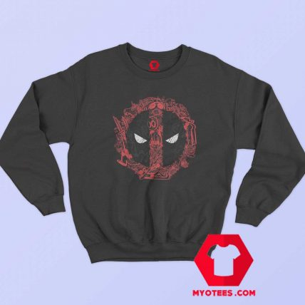 Funny Marvel Deadpool Face Icons Sweatshirt