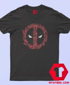 Funny Marvel Deadpool Face Icons T Shirt