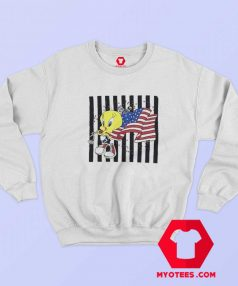 Cute Tweety American Flag Marathon Runner Sweatshirt
