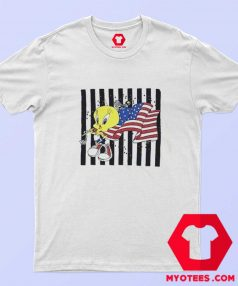 Cute Tweety American Flag Marathon Runner T Shirt