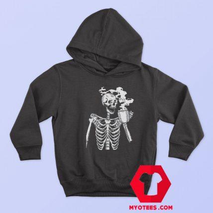 Funny Horror Skeleton Skull Drinking Coffee Hoodie