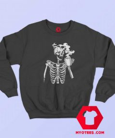 Funny Horror Skeleton Skull Drinking Coffee Sweatshirt