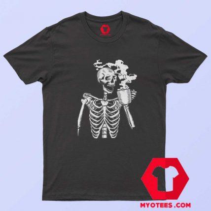 Funny Horror Skeleton Skull Drinking Coffee T Shirt
