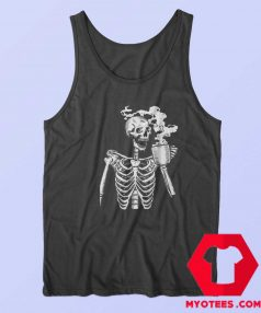 Funny Horror Skeleton Skull Drinking Coffee Tank Top