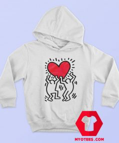 Keith Haring Holding Heart Icon Retro Hoodie