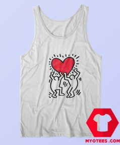 Keith Haring Holding Heart Icon Retro T Shirt