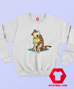 Strip Tiger Calvin Hobbes Hugging Sweatshirt