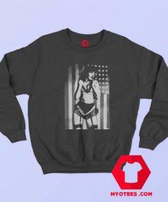 Bettie American Flag Retro Pin Up Girl Sweatshirt