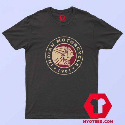 Indian Motorbike Biker Cafe Circle Logo T Shirt